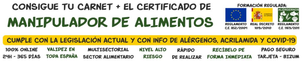 Banner Curso de Manipulador de Alimentos, con Carnet y Certificado. Formación Regula. Curso son Alérgenos, Acrilamida, COVID-19, curso online