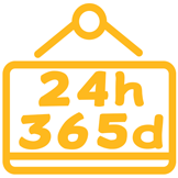 Icono abierto las 24 horas, los 365 del año para realiaar online el Curso de Manipulador de Alimentos, con el que obtienes un carnet y diploma
